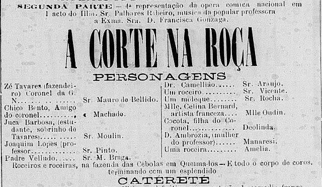 Sobre a estréia de A Corte na Roça, em 1885